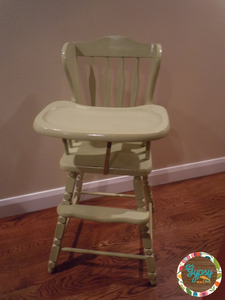 Green refinished vintage high chair {Gypsy Magpie}