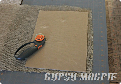 How to make a burlap photo mat {Gypsy Magpie}