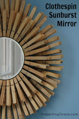 Clothespin Sunburst Mirror from Imparting Grace