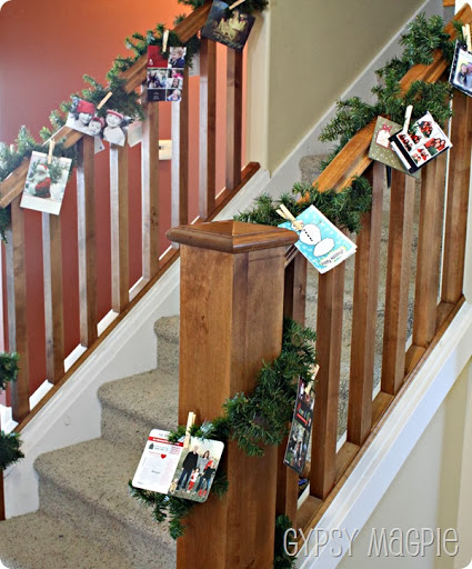 Banister Christmas Card Garland {Gypsy Magpie}