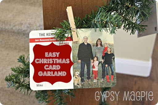 Easy Christmas Card Garland {Gypsy Magpie}