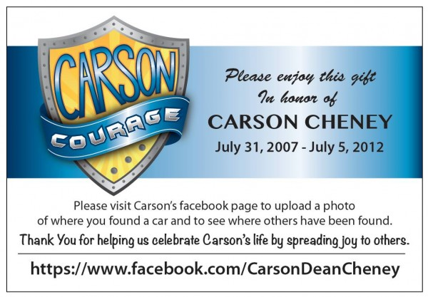 Share a car for Carson Courage! https://www.facebook.com/CarsonDeanCheney