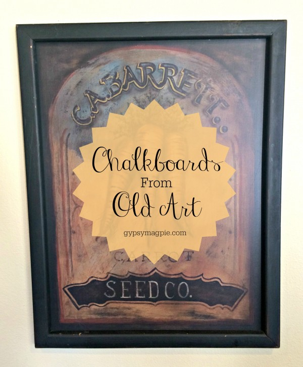 Ideas for creating fun chalkboards from old art you may already have around your house {Gypsy Magpie}
