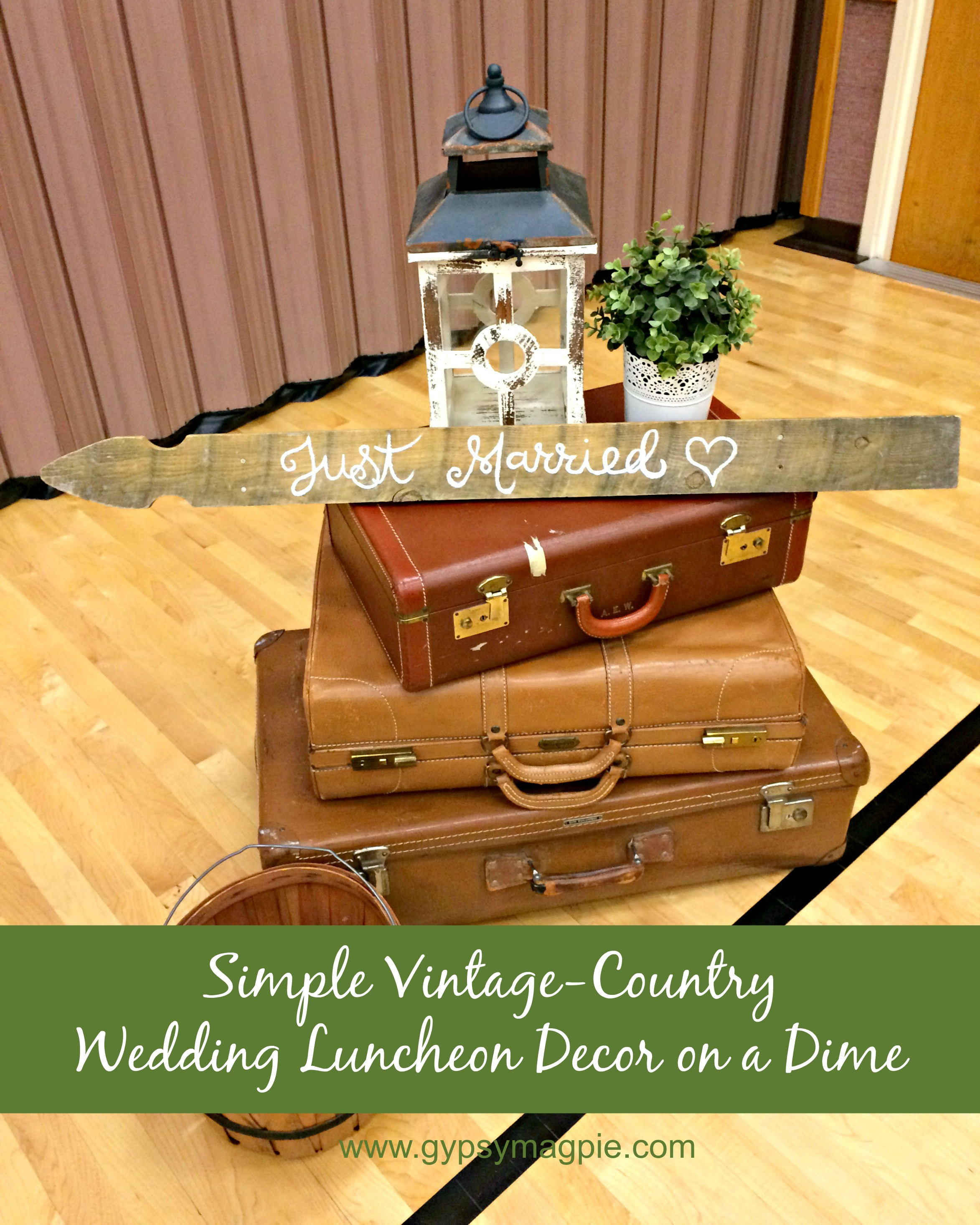 How We Decorated for a Vintage Country Wedding Luncheon on a Dime {Gypsy Magpie}