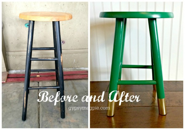 Before and After... Green & Gold Stool Makeover {Gypsy Magpie}