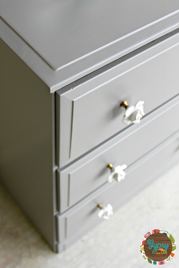 An old handbuilt dresser gets new life with some dovetail grey paint and vintage style floral hardware {Gypsy Magpie}