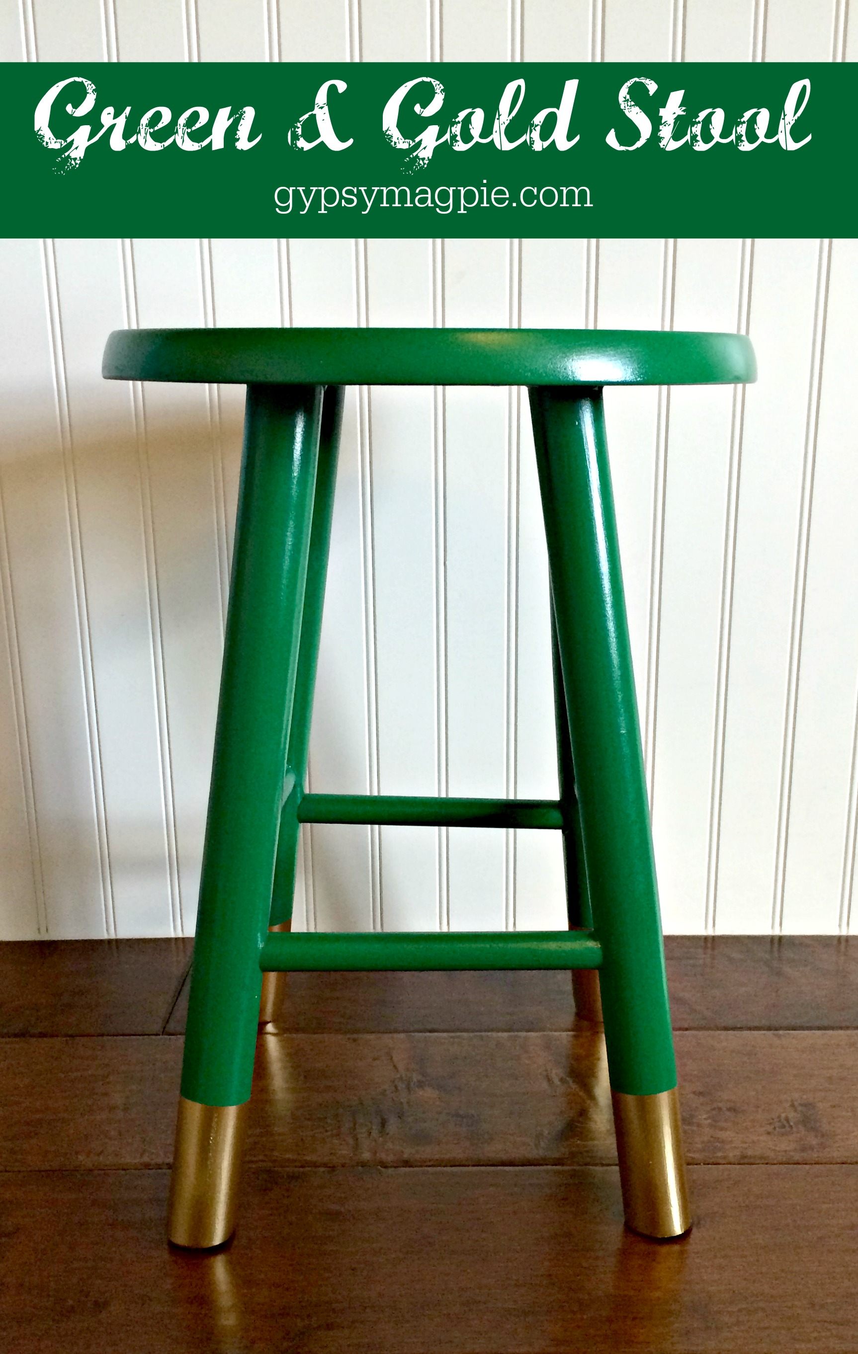 Green & Gold Stool Makeover {Gypsy Magpie}