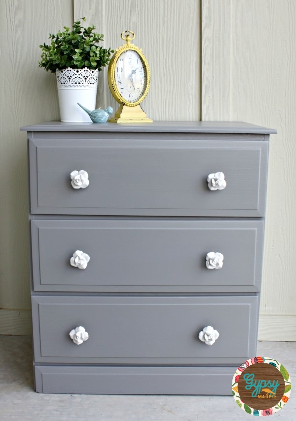 An Old Handbuilt Dresser Gets New Life With Some Dovetail Grey Paint And  Vintage Style Floral