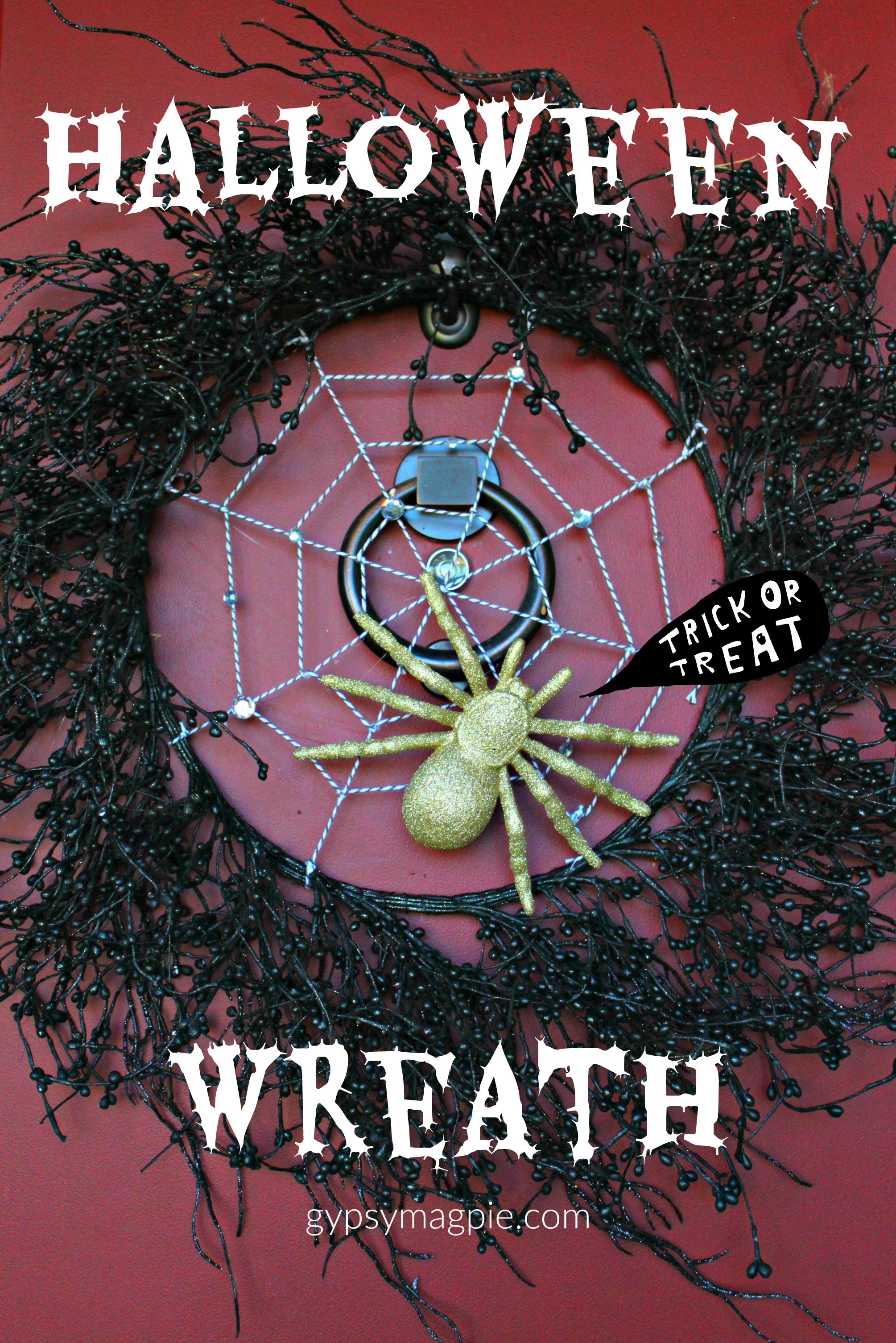 Create a glittered spider wreath for Halloween that isn't too scary {Gypsy Magpie}