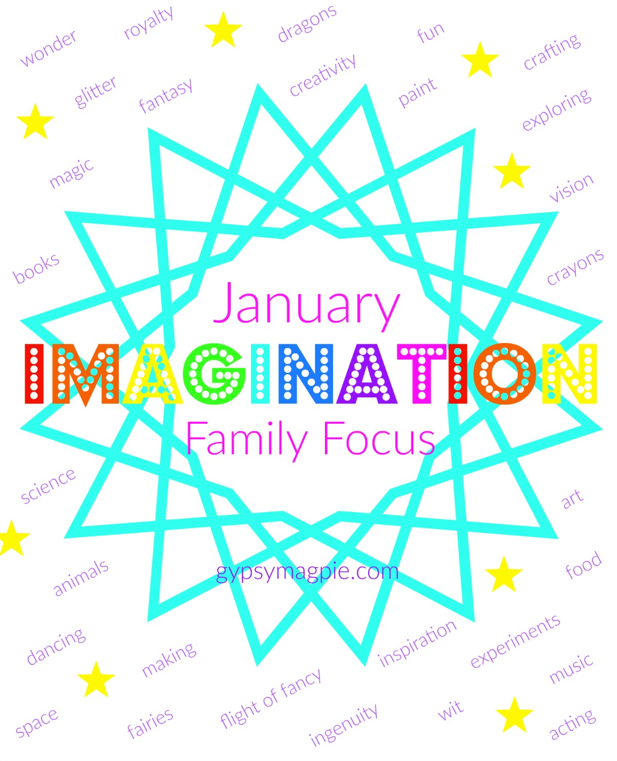Join us as we focus on IMAGINATION this month on gypsymagpie.com!