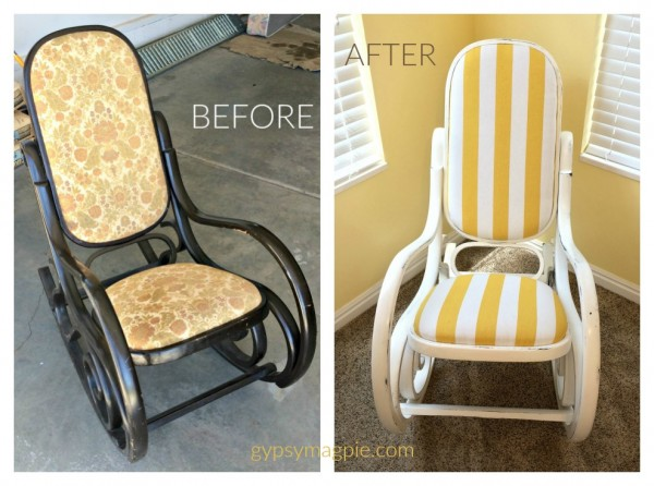 Do you have an old Bentwood Rocker? Come see how this one found new life and new purpose! | Gypsy Magpie