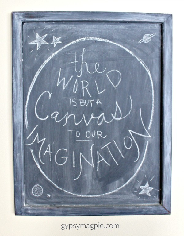 Stop by and see my Top 10 Favorite Projects of 2015 including this fun chalkboard made from an old piece of wall art! | Gypsy Magpie