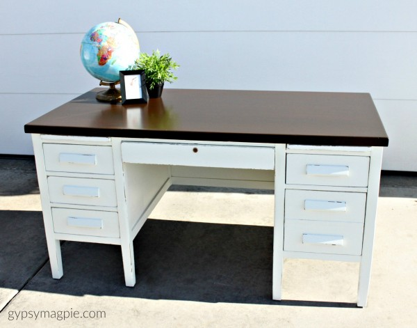 Simple White Banker's Desk After. Come see the before! | Gypsy Magpie