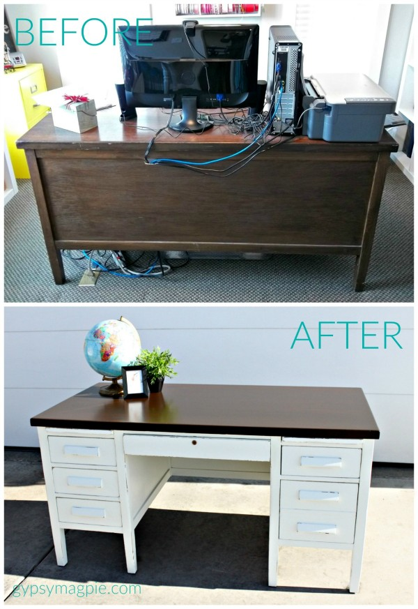 Simply White Banker's Desk BEFORE & AFTER. Come see the rest of the process! | Gypsy Magpie