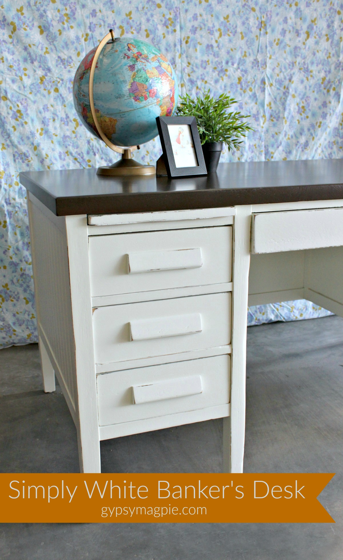 Come see how this wonderful old banker's desk got a new life with a little love and some Simply White paint | Gypsy Magpie