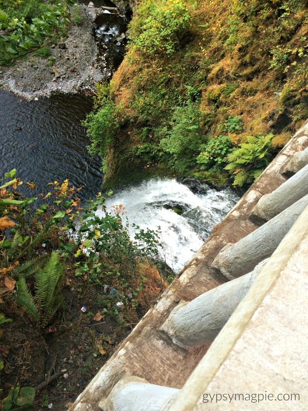 Looking down from Benson's Bridge at Multnomah Falls. Such a gorgeous view! | Gypsy Magpie