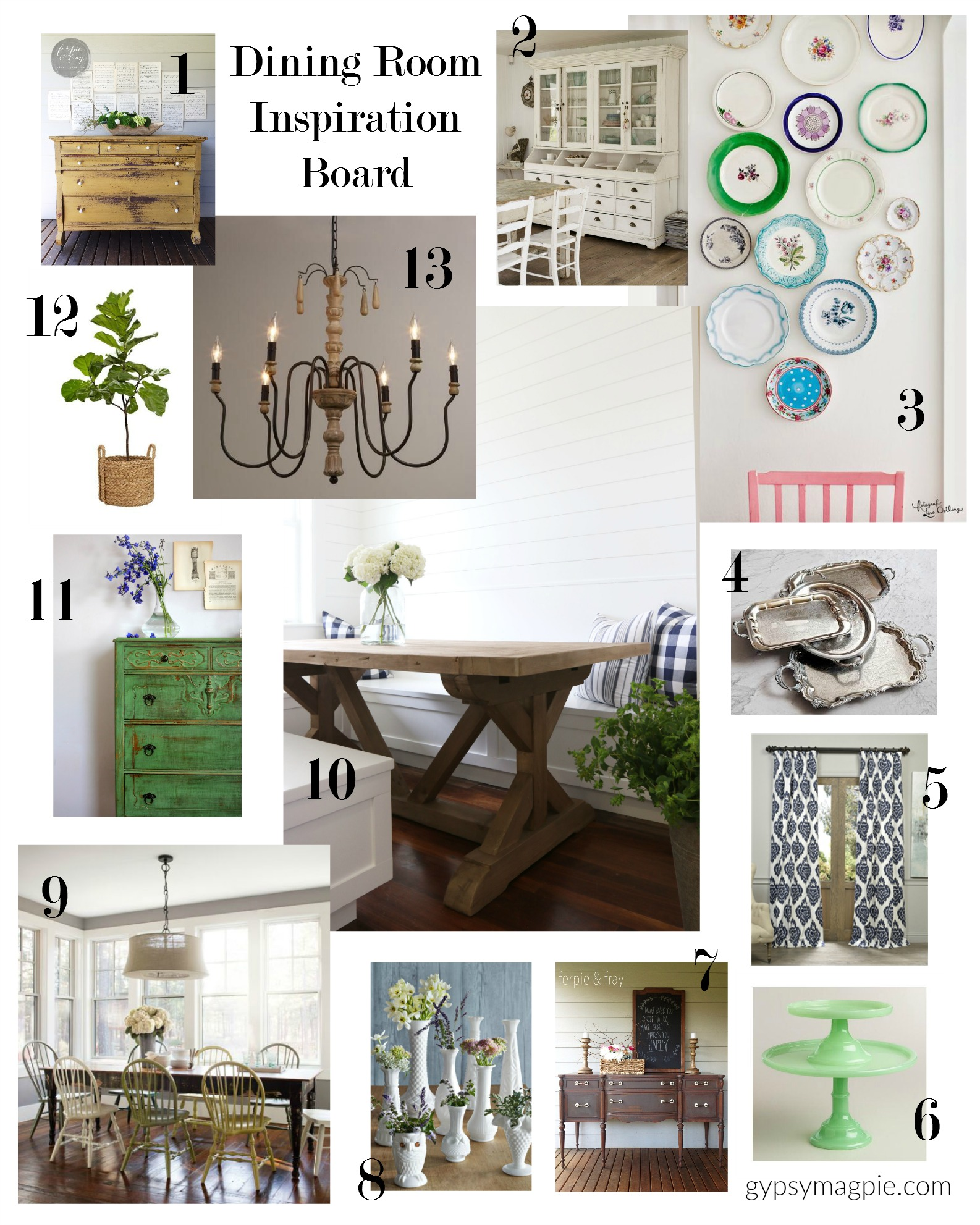 I needed a way to gather my inspiration for my dining room project together in one place, so I created this little inspiration board to keep me focused! I love inpiration boards! | Gypsy Magpie