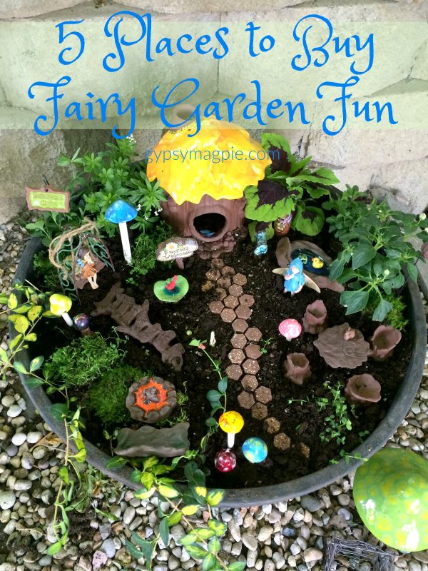 Do you love all things pixie? Sharing our 5 favorite places to buy fairy garden fun, come see! | Gypsy Magpie