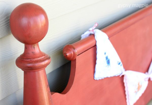 Completely Coral is such a fun color! I love how this headboard turned out!   Gypsy Magpie
