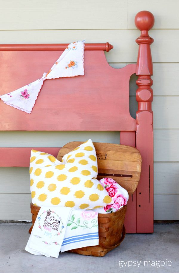 Darling queen sized headboard painted in Completely Coral milk paint | Gypsy Magpie