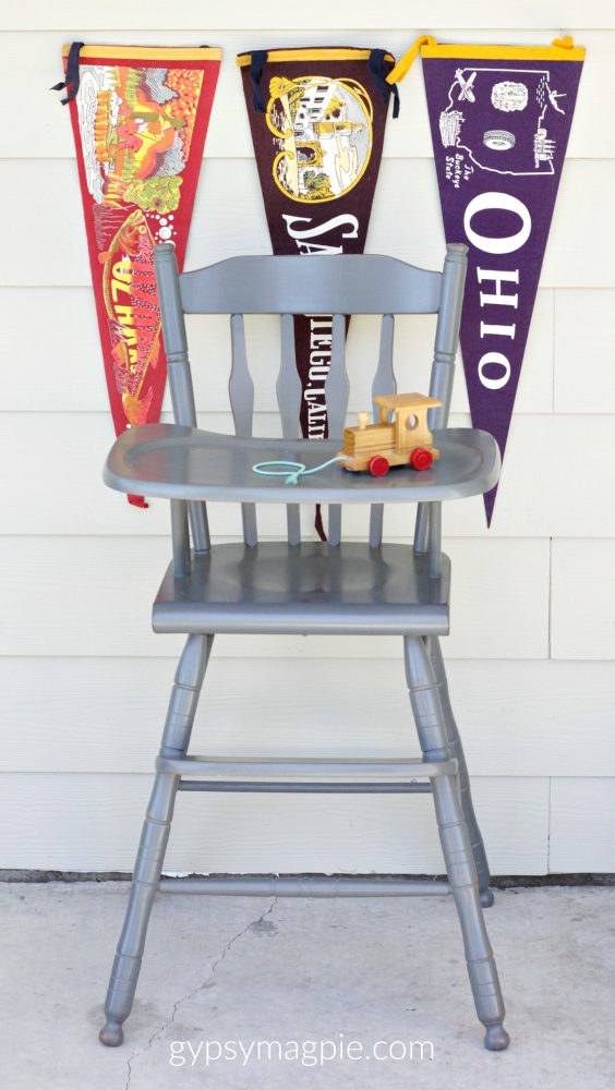 Cute little high chair painted in Sweet Pickins Zinc Milk Paint | Gypsy Magpie
