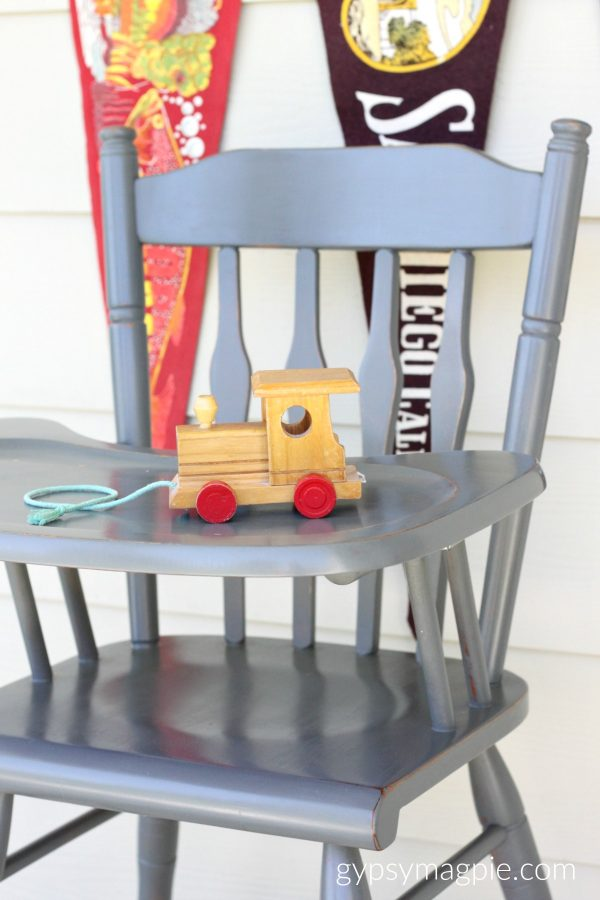 The sweetest little high chair painted in Sweet Pickins Zinc Milk Paint | Gypsy Magpie