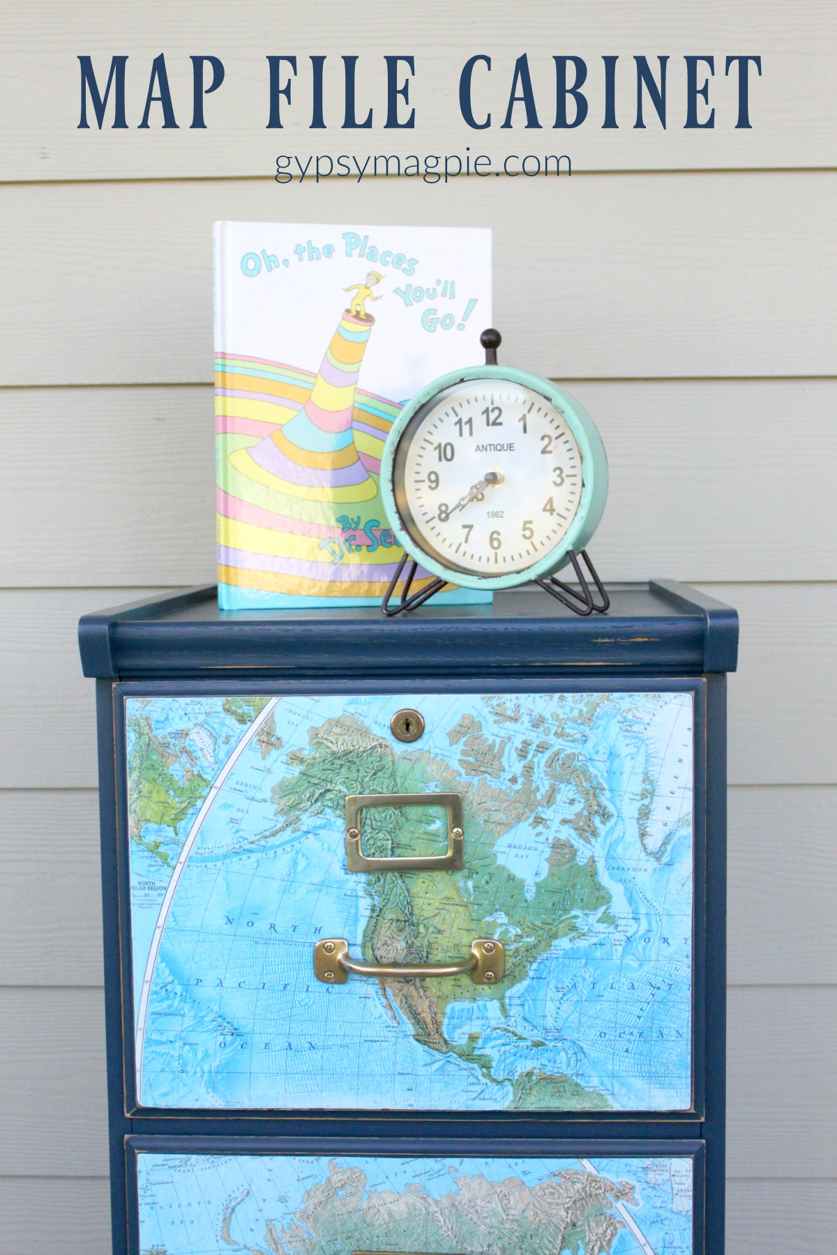 A little navy blue paint and an old map perk up a boring oak file cabinet | Gypsy Magpie