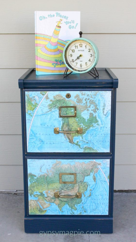 Give an old wood file cabinet a face lift with some navy blue paint and a map! | Gypsy Magpie