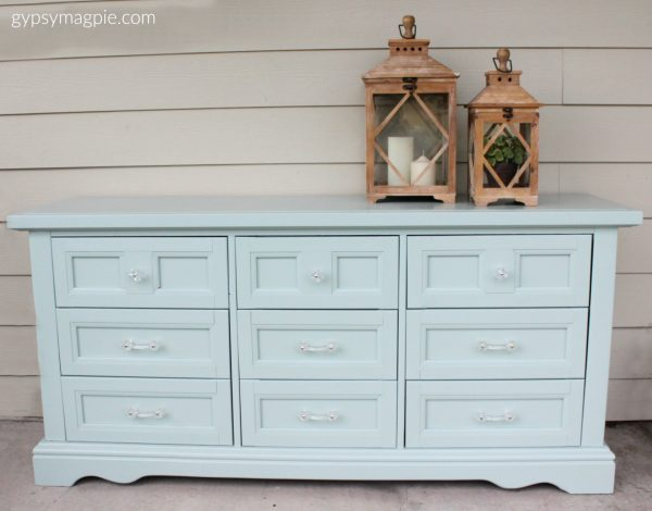 This darling dresser was painted in Wyeth Blue and is even more adorable in person! | Gypsy Magpie