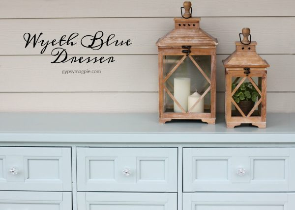 Darling hand painted 9 drawer dresser in 4 Chairs Furniture Wyeth Blue with D. Lawless glass hardware | Gypsy Magpie
