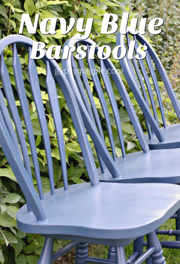 Update old wood barstools with a hit of navy paint for a whole new look on the cheap! | Gypsy Magpie