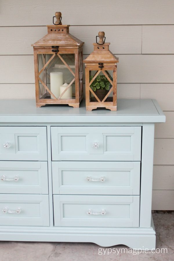 D. Lawless glass hardware and Wyeth Blue paint from Four Chairs update a 9 drawer dresser
