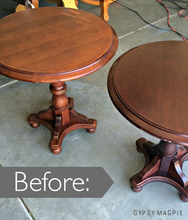 Sometimes tired furniture just needs a little bit of love and attention to bring out the best features. These chipped up tables are beautiful now! Come see the after! | Gypsy Magpie
