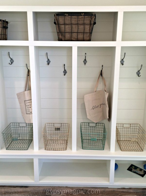 I love these simple mudroom cubbies! The double hooks in each cubby could be so handy and double the hanging space! | Gypsy Magpie