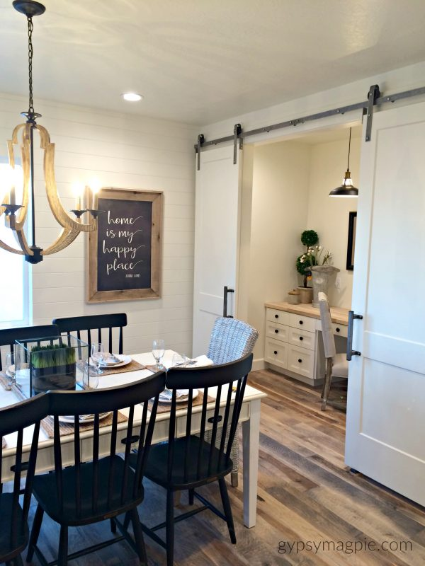 Dining Room with barn doors and a little homework/office nook. Love it! | Gypsy Magpie