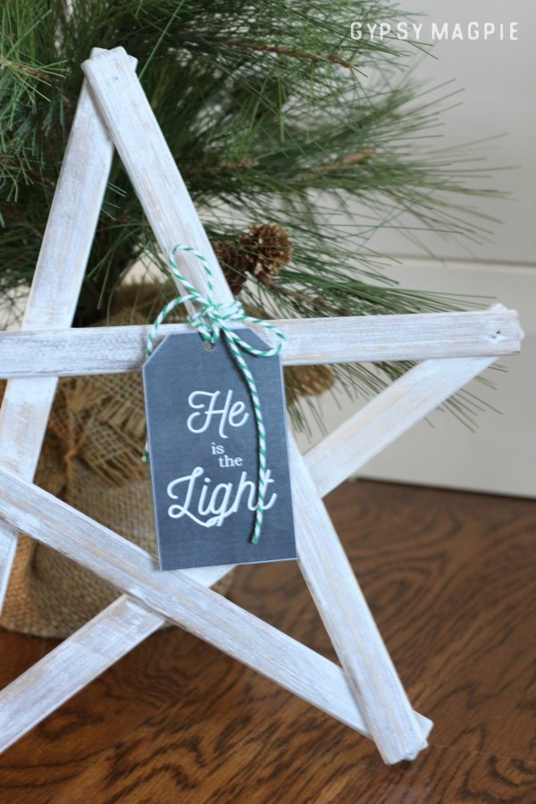 Find this Free Printable Gift Tag plus instructions for a Christmas Star DIY at Gypsy Magpie!