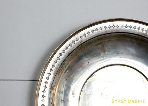 Grandma's silver dish adds light to our family history plate wall | Gypsy Magpie