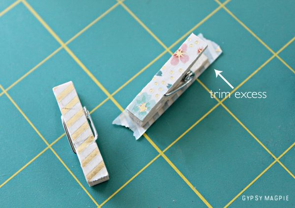Make a cute little bookmark with a mini clothes pin and some washi tape! | Gypsy Magpie