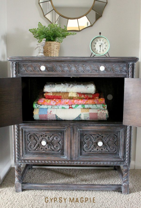 You'd never guess what this pretty antique cabinet looked like before! Gorgeous now! | Gypsy Magpie