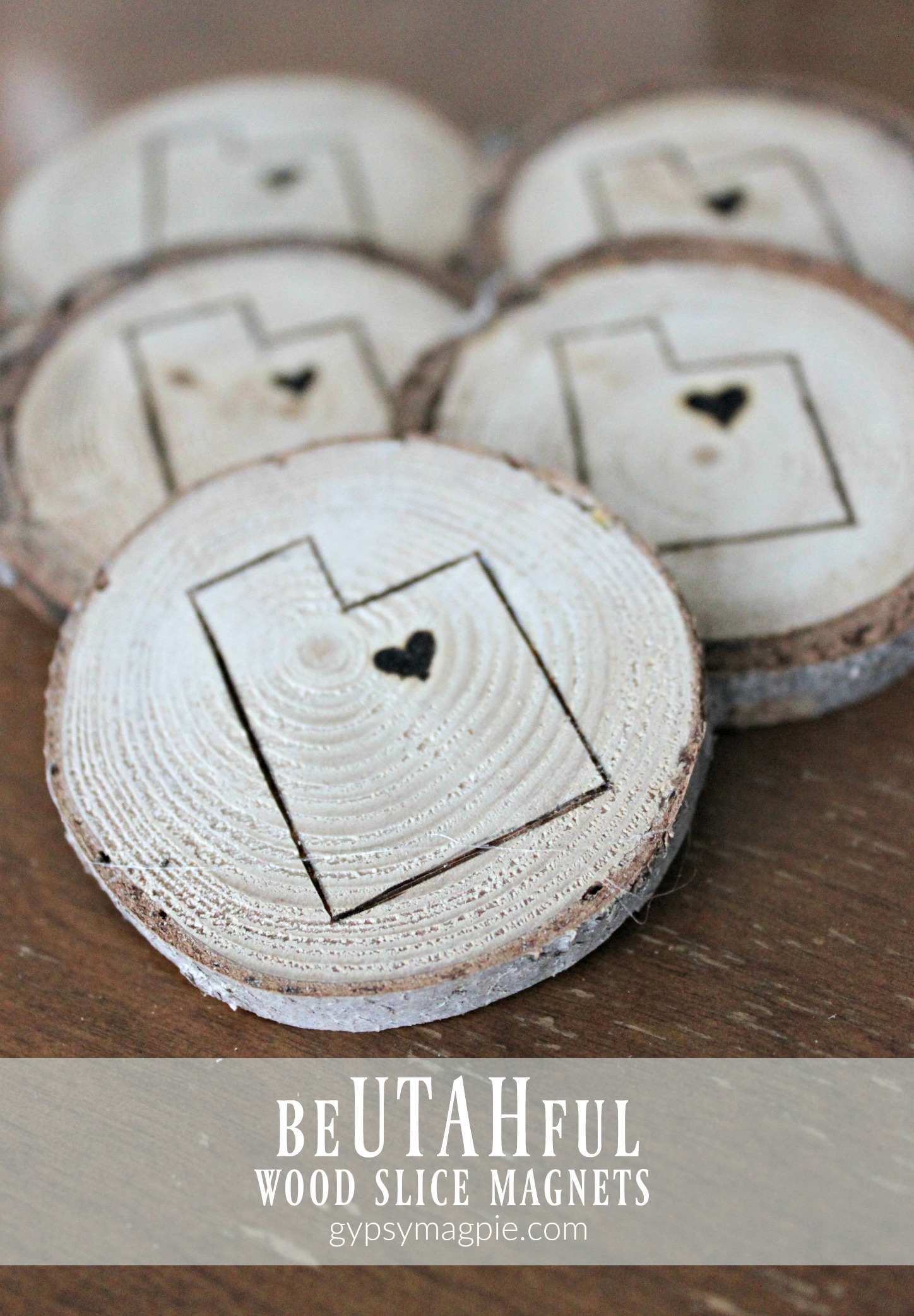 These beUTAHful wood slice magnets are simple to make and so cute! Stop by the blog to see what we did. | Gypsy Magpie