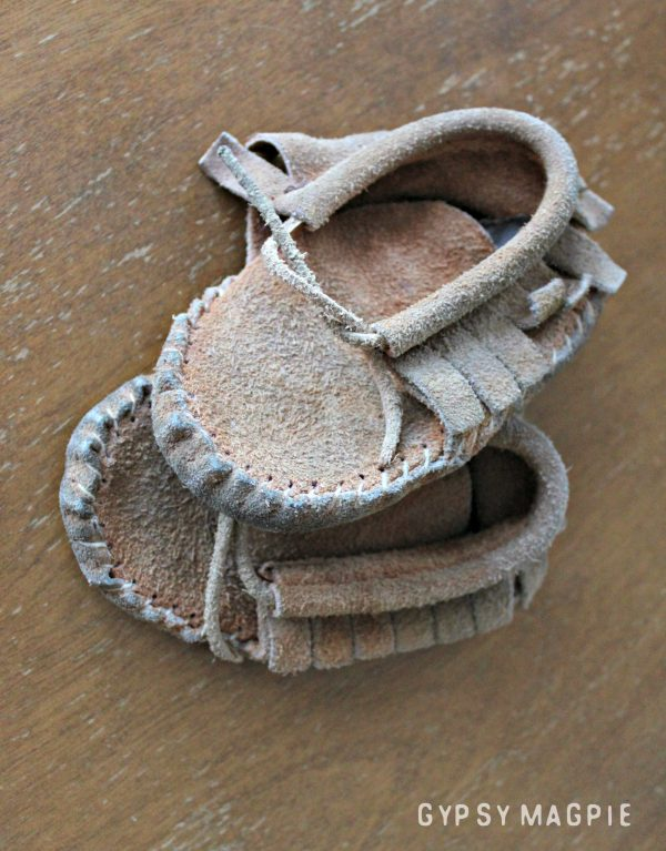 These sweet little handmade moccs were my baby shoes when I was tiny and my family traveled to rendezvous. Aren't they darling? | Gypsy Magpie