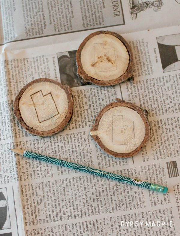 Lightly pencil on your shape to prep for wood burning | Gypsy Magpie