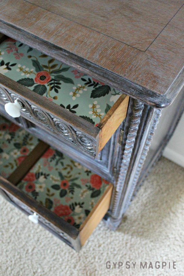 Pretty paper adds a pop of color to the inside of this gorgeous antique cabinet | Gypsy Magpie