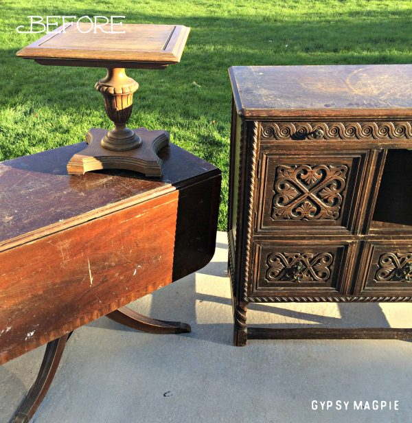 Can you believe this old cabinet was saved from a trash compactor? Come see what it looks like now! | Gypsy Magpie