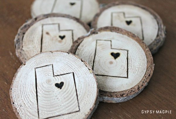 These sweet little wood burned magnets celebrate our beUTAHful state but could be customized to anywhere you live! | Gypsy Magpie