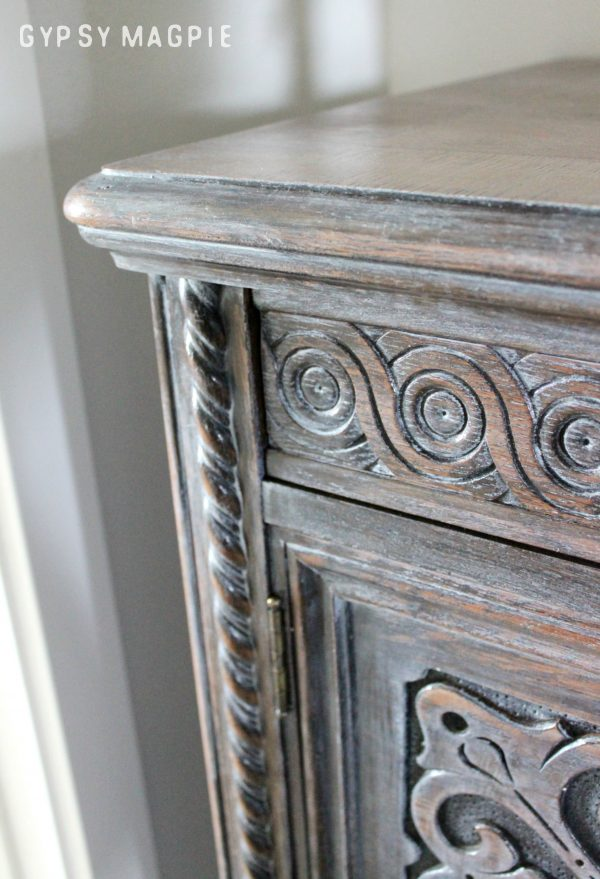 Winter White Glaze over walnut stain. This is so fun! | Gypsy Magpie