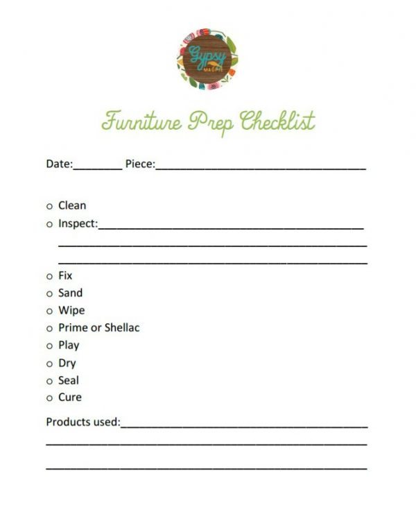 Free Printable Furniture Prep Checklist from Gypsy Magpie!