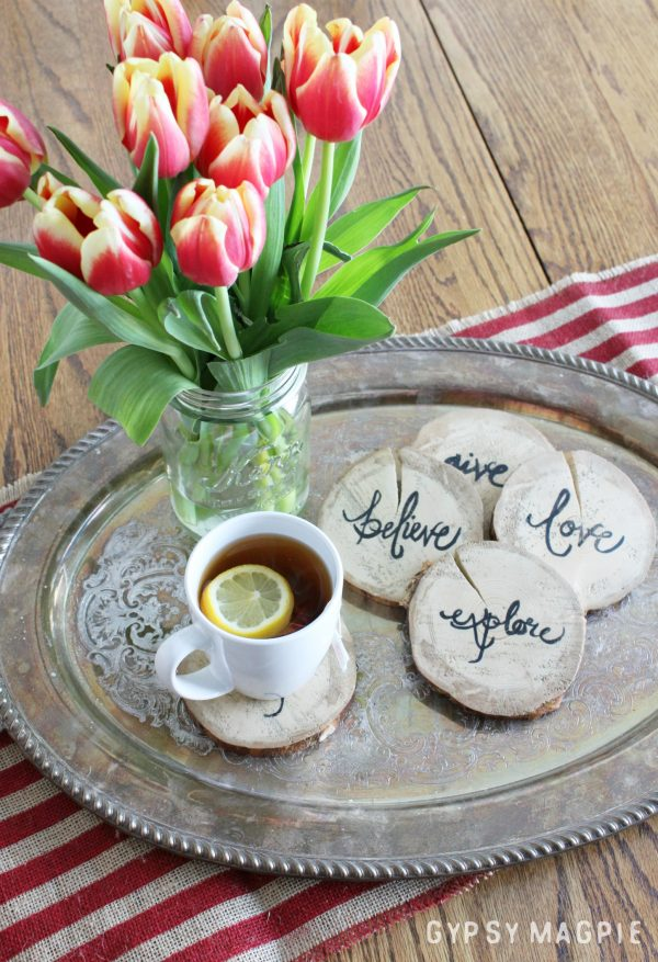These Lettered Wood Slice Coasters are so easy and cost mere pennies to make!