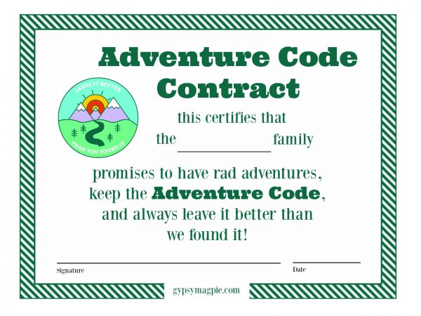 Use this free printable contract in your efforts to teach your family the Adventure Code! | Gypsy Magpie