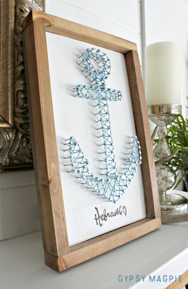 This DIY anchor string art was inspired by Hebrews 6:19 and the story of a grandpa's hope for his POW brother | Gypsy Magpie